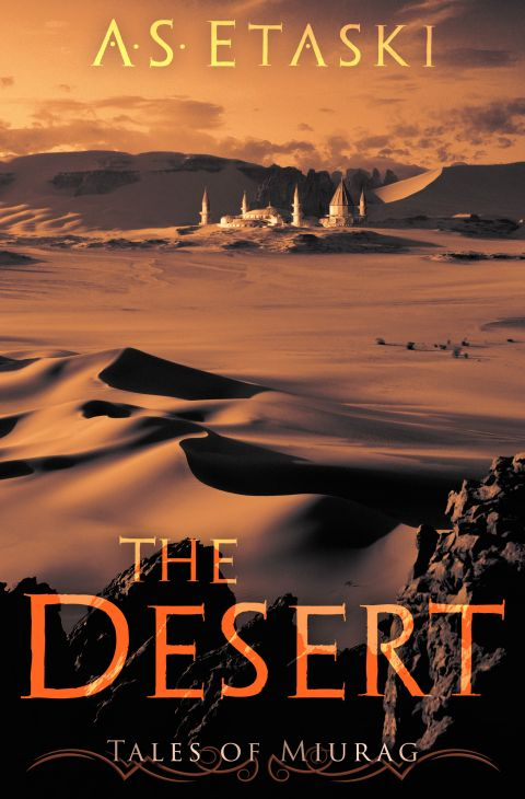 Orange-red desert sand dunes and a partly hidden white fantasy palace