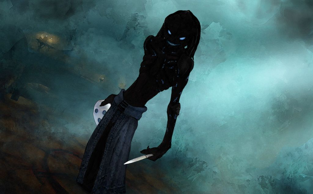 A grinning shadow creature surrounded by mist holds a white mask and silver dagger in each hand.