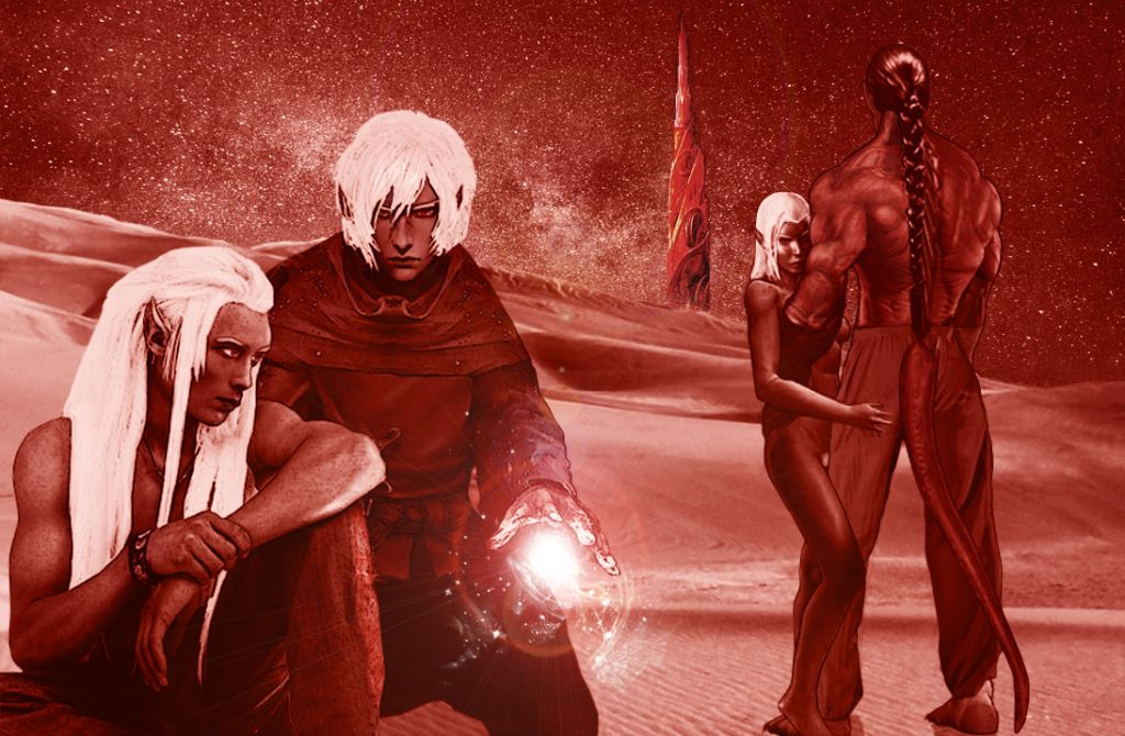 Three Dark Elves and a muscular half-blood observe a night sky in a red desert with a tall fantasy spire on the horizon.